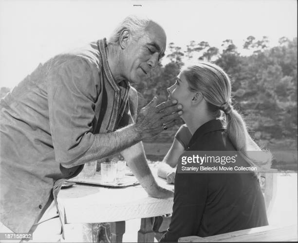Actors Anthony Quinn and Candice Bergen in a scene from the film 'The Magus' 1968