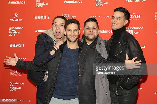 Actors Anthony Ramos Justin Bartha Ralph Rodriguez and Brian 'Sene' Marc attend the 'White Girl' Premiere during the 2016 Sundance Film Festival at...