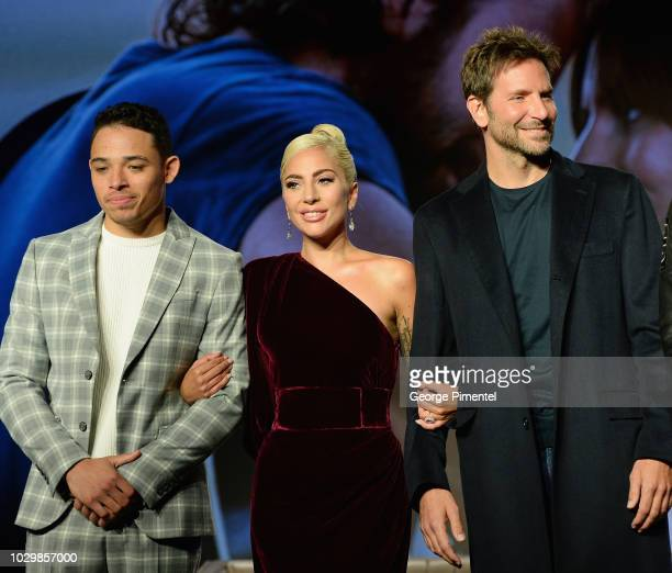 Actors Anthony Ramos Lady Gaga and director Bradley Cooper attend 2018 Toronto International Film Festival 'A Star Is Born' Press Conference at TIFF...