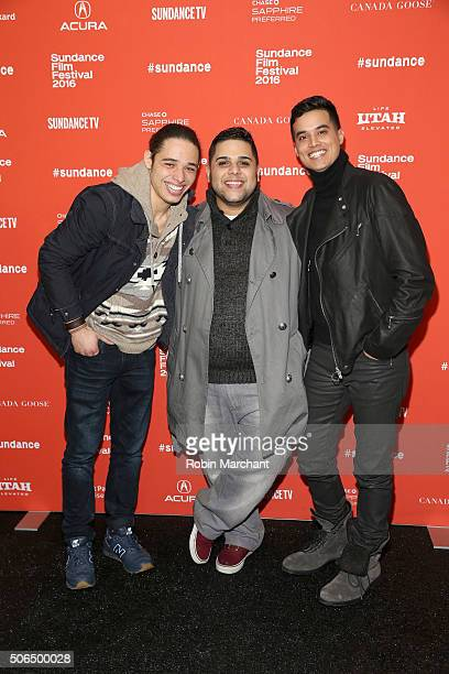 Actors Anthony Ramos Ralph Rodriguez and Brian 'Sene' Marc attend the 'White Girl' Premiere during the 2016 Sundance Film Festival at Library Center...