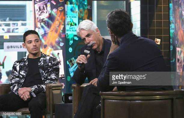 Actors Anthony Ramos Sam Elliott and moderator Ricky Camilleri attend the Build Series to discuss 'A Star Is Born' at Build Studio on October 3 2018...