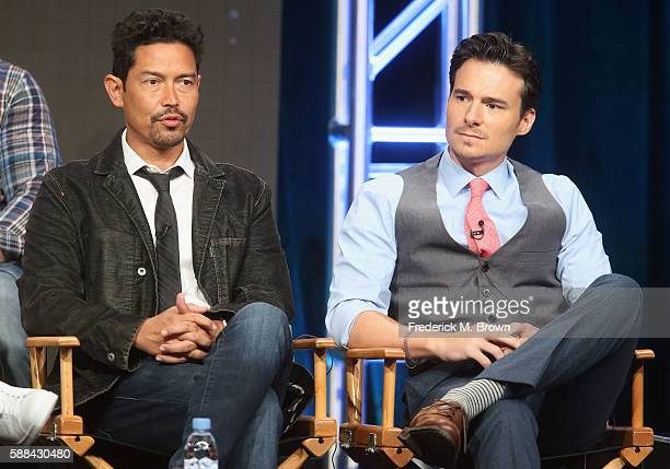 Actors Anthony Ruivivar and Daniel Bonjour speak onstage at the 'Frequency' panel discussion during The CW portion of the 2016 Television Critics...