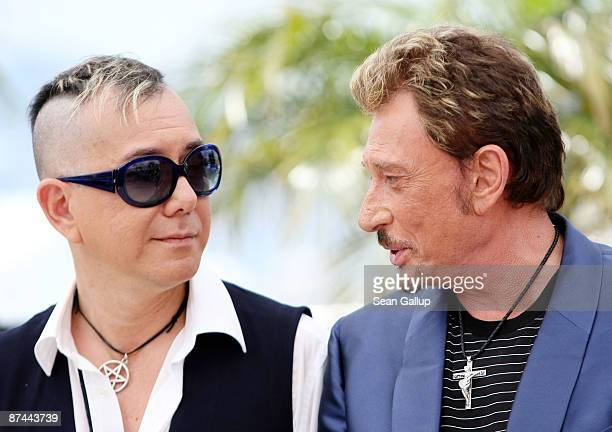 Actors Anthony Wong and Johnny Hallyday attend the Vengeance Photocall at the Palais Des Festivals during the 62nd International Cannes Film Festival...