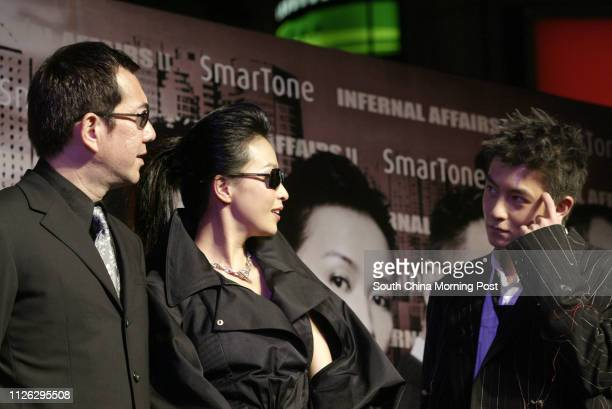 Actors Anthony Wong Chausang Carina Lau Kaling and Edison Chen Koonhei in the premiere of Infernal Affairs II at the UA theatre in Times Square 29...