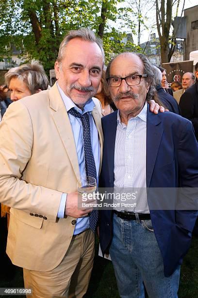 Actors Antoine Dulery and Gerard Hernandez attend Museum Paul Belmondo celebrates its 5th Anniversary on April 13 2015 in BoulogneBillancourt France