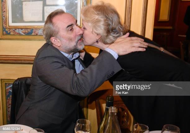 Actors Antoine Dulery and Marie Christine Barrault attend 'Journees du Livre et du Vin 2017' Jury Deliberation Lunch at Le Procope on March 27 2017...