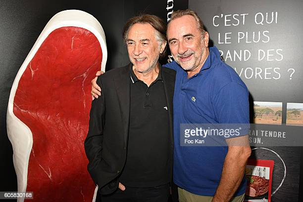 Actors Antoine Dulery and Richard Berry attend the 'Charal' 30th Anniversary Pop Up Store Opening Party at Rue des Halles on September 14, 2016 in...