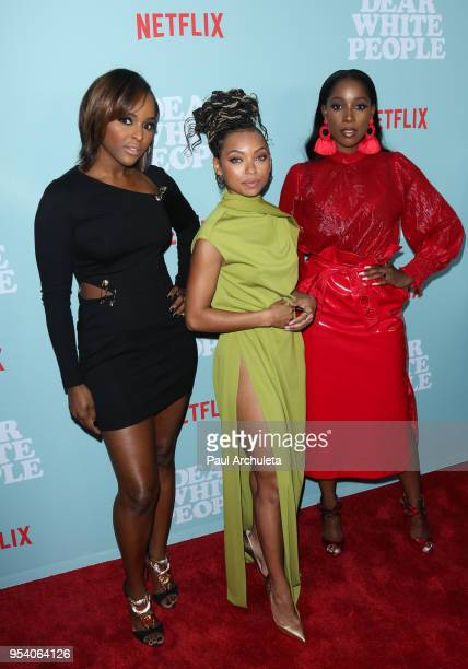 Actors Antoinette Robertson Logan Browning and Ashley Blaine Featherson attend the screening of Netflix's Dear White People season 2 at ArcLight...