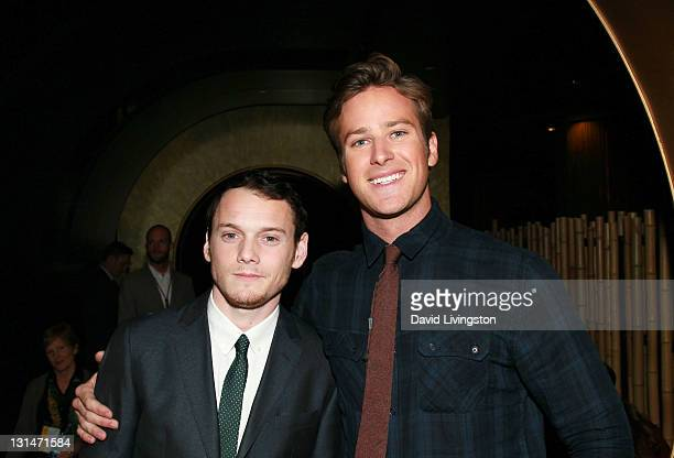Actors Anton Yelchin and Armie Hammer attend the LA Times Young Hollywood Roundtable during AFI FEST 2011 presented by Audi at Mann Chinese 6 on...
