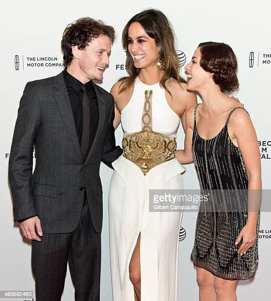 Actors Anton Yelchin Berenice Marlohe and Olivia Thirlby attend 5 to 7 premiere during the 2014 Tribeca Film Festival at SVA Theater on April 19 2014...