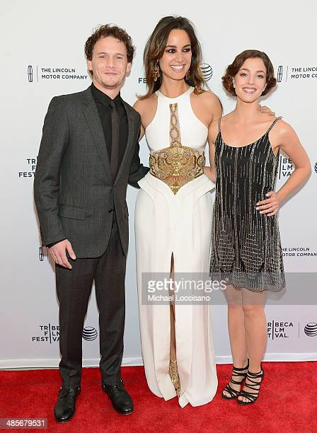 Actors Anton Yelchin Berenice Marlohe and Olivia Thirlby attend the 5 To 7 Premiere during the 2014 Tribeca Film Festival at the SVA Theater on April...