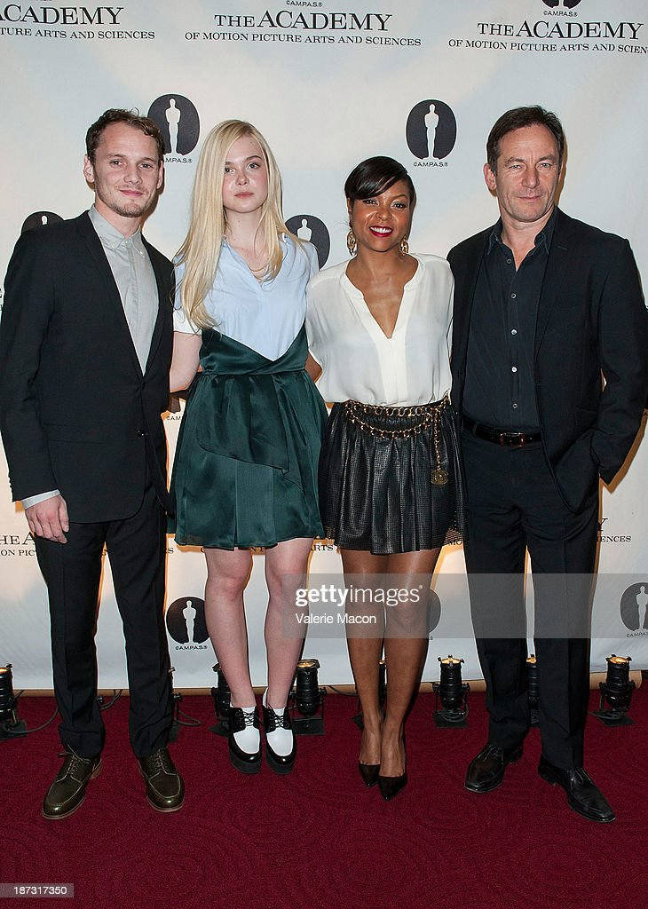 Actors Anton Yelchin, Elle Fanning, Taraji P. Henson and Jason Isaacs attend The Academy Of Motion Picture Arts And Sciences' Hosts The Academy Nicholl Fellowships In Screenwriting Awards at AMPAS Samuel Goldwyn Theater on November 7, 2013 in Beverly Hills, California.