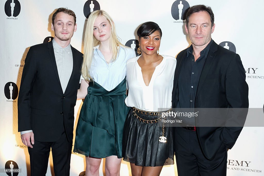 Actors Anton Yelchin, Elle Fanning, Taraji P. Henson and Jason Issacs attend the 2013 Academy Nicholl Fellowships In Screenwriting Awards hosted by AMPAS at AMPAS Samuel Goldwyn Theater on November 7, 2013 in Beverly Hills, California.