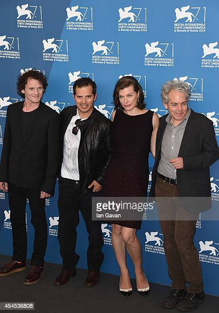 Actors Anton Yelchin John Leguizamo actress Milla Jovovich and director Michael Almereyda wearing a JaegerLeCoultre watch attends the 'Cymbeline'...