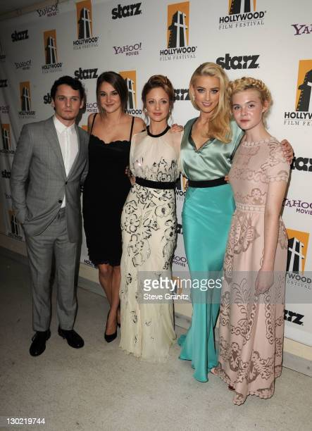 Actors Anton Yelchin, Shailene Woodley, Andrea Riseborough, Amber Heard and Elle Fanning pose backstage during the 15th Annual Hollywood Film Awards...