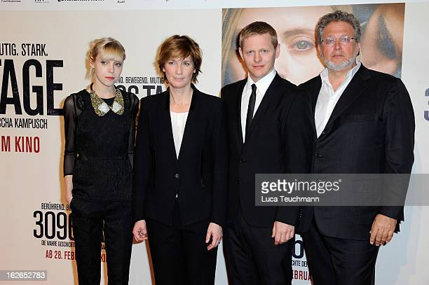 Actors Antonia CampbellHughesThure Lindhardtdirector Sherry Hormann and producer Martin Moszkowicz attend the '3096 Tage' World Premiere at Cineplexx...