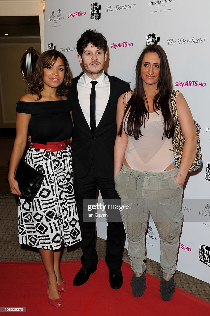 Actors Antonia Thomas. Iwan Rheon and Lauren Socha attends the South Bank Sky Arts Awards at The Dorchester on January 25, 2011 in London, England.