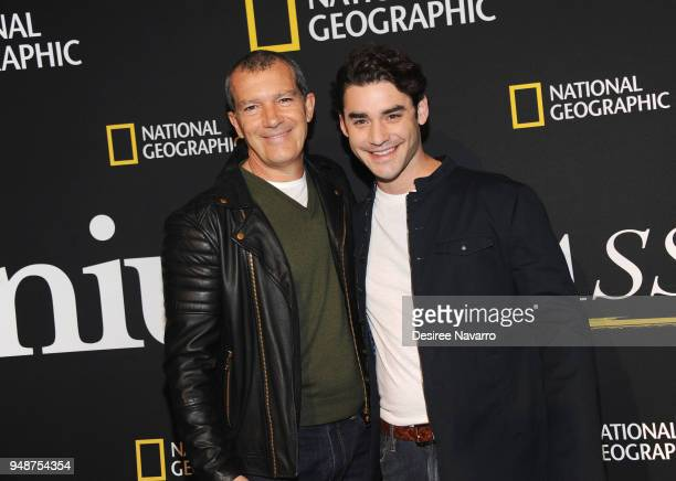 Actors Antonio Banderas and Alex Rich attend National Geographic Unveils The Genius Studio on April 19 2018 in New York City