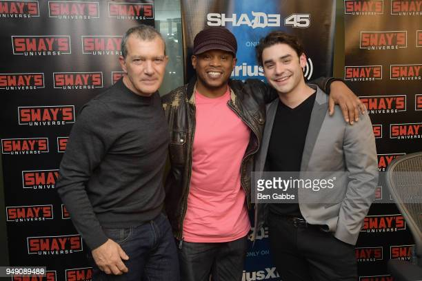 Actors Antonio Banderas and Alex Rich visit 'Sway in the Morning' hosted by SiriusXM's Sway Calloway on Eminem's Shade 45 at SiriusXM Studios on...