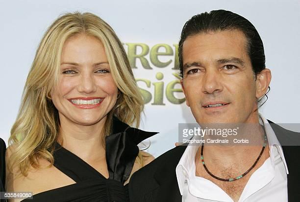 Actors Antonio Banderas and Cameron Diaz attend the premiere of Shrek 3 in Paris