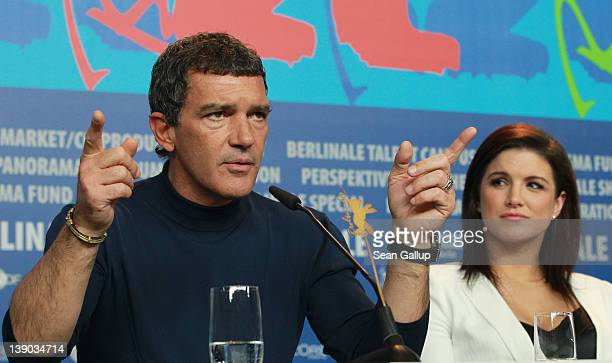 Actors Antonio Banderas and Gina Carano attend the Haywire Press Conference during day seven of the 62nd Berlin International Film Festival at the...