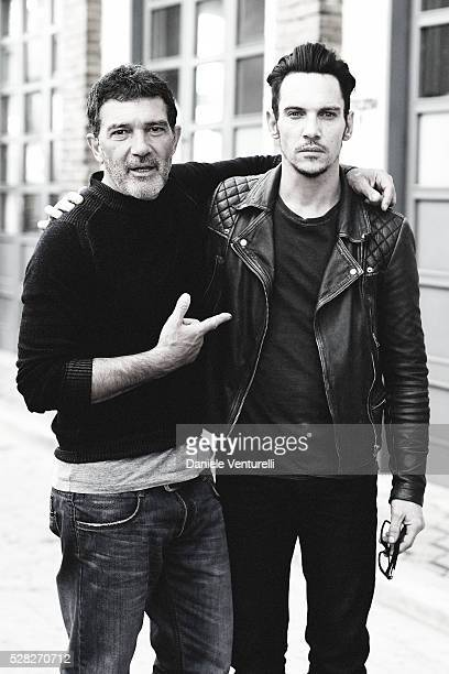 Actors Antonio Banderas and Jonathan RhysMeyers pose on set of the movie 'BLACK BUTTERFLY' by AMBI Group on May 04 2016 in Rome Italy