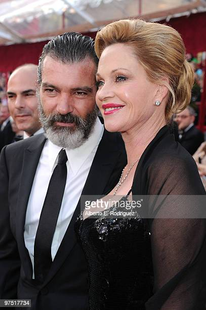 Actors Antonio Banderas and Melanie Griffith arrive at the 82nd Annual Academy Awards held at Kodak Theatre on March 7 2010 in Hollywood California