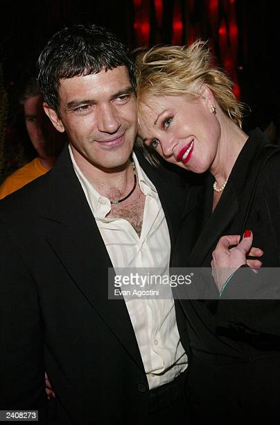 Actors Antonio Banderas and Melanie Griffith attend the And Starring Pancho Villa As Himself HBO premiere afterparty at Gotham Hall August 18 2003 in...