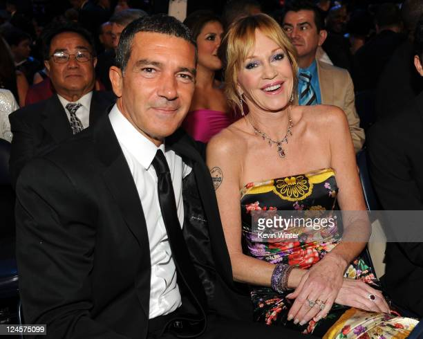 Actors Antonio Banderas and Melanie Griffith pose in the audience during the 2011 NCLR ALMA Awards held at Santa Monica Civic Auditorium on September...