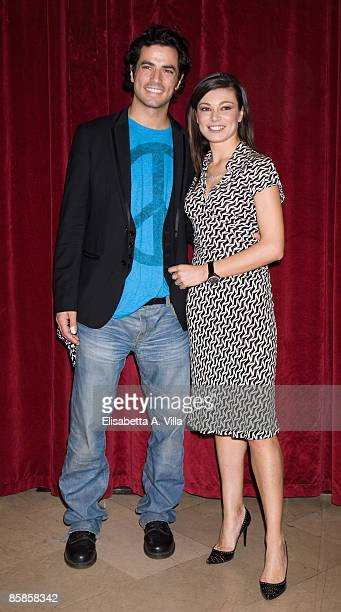 Actors Antonio Cupo and Roberta Lanfranchi attend a photocall for the musical 'Cinderella' at Sistina Theatre on April 7, 2009 in Rome, Italy.