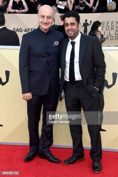 Actors Anupam Kher and Adeel Akhtar attend the 24th Annual Screen ActorsGuild Awards at The Shrine Auditorium on January 21 2018 in Los Angeles...