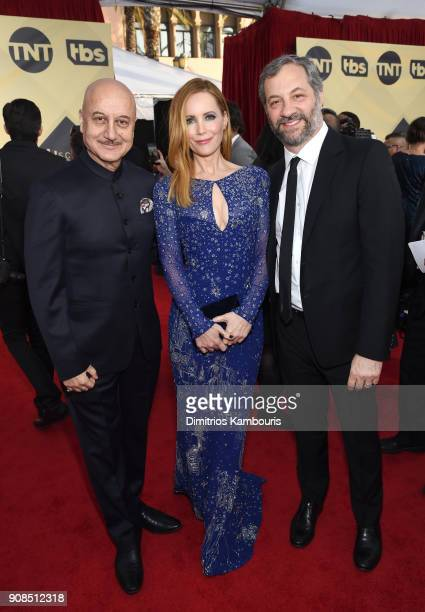 Actors Anupam Kher and Leslie Mann and producer Judd Apatow attend the 24th Annual Screen Actors Guild Awards at The Shrine Auditorium on January 21...
