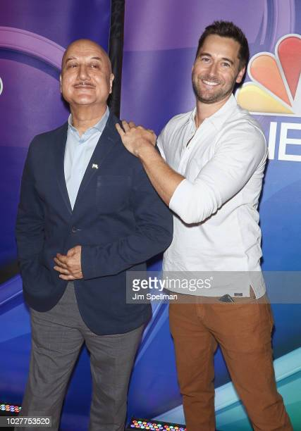 Actors Anupam Kher and Ryan Eggold attend the NBC Fall New York Junket at Four Seasons Hotel New York on September 6 2018 in New York City