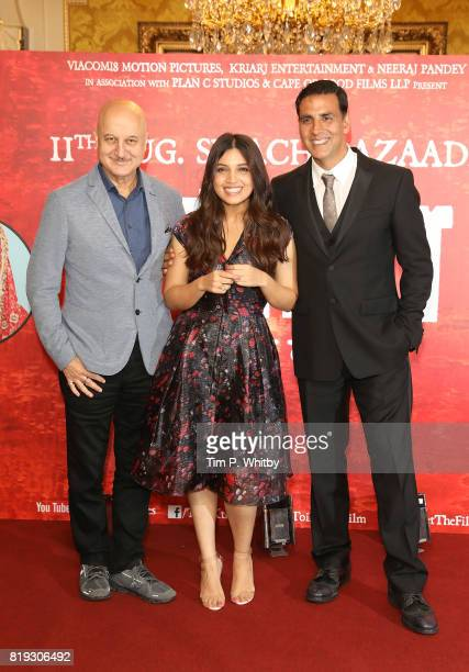Actors Anupam Kher Bhumi Pednekar and Akshay Kumar attending the 'Toilet Ek Prem Katha ' Photocall the worlds first feature film on the...
