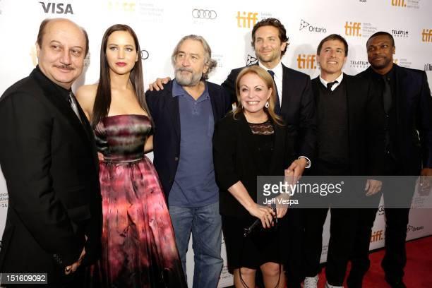 Actors Anupam Kher Jennifer Lawrence Robert De Niro Jacki Weaver Bradley Cooper Writer/Director David O Russell and Actor Chris Tucker attend the...