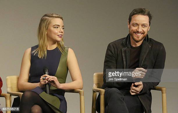 """Actors Anya Taylor Joy and James McAvoy attend Meet the Actor to discuss """"Split"""" at Apple Store Soho on January 19, 2017 in New York City."""