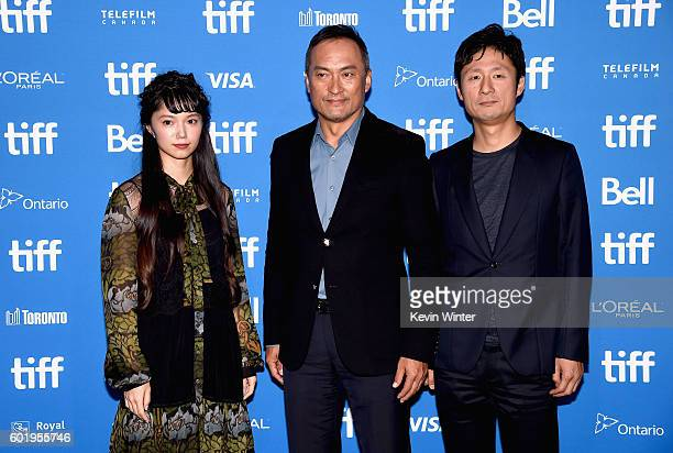 Actors Aoi Miyazaki Ken Watanabe and director Sangil Lee attends the 'Rage' press conference during the 2016 Toronto International Film Festival at...