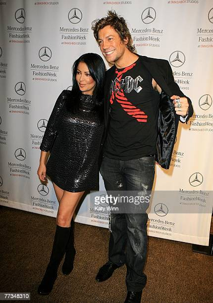Actors Apollonia Kotero and Emmanuel Delcour attend Mercedes Benz Fashion Week held at Smashbox Studios on October 15 2007 in Culver City California