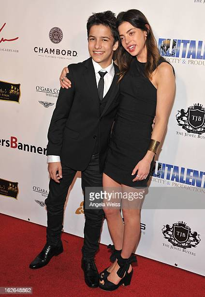 Actors Aramis Kinight and Gia Mantegna attend the Hellman Walter's 'Salute To The Stars' Oscar after party at Andaz on February 24 2013 in West...