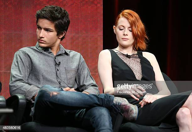 Actors Aramis Knight and Emily Beecham speak onstage during the 'Into the Badlands' panel discussion at the AMC/IFC Networks portion of the 2015...