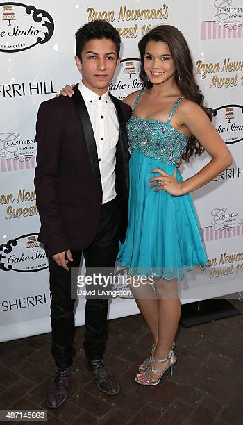 Actors Aramis Knight and Paris Berelc attend Ryan Newman's Glitz and Glam Sweet 16 birthday party at the Emerson Theater on April 27 2014 in...