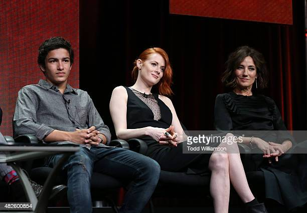 Actors Aramis Knight Emily Beecham and Orla Brady attend the AMC TCA panel at The Beverly Hilton Hotel on July 31 2015 in Beverly Hills California
