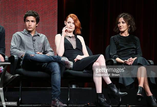 Actors Aramis Knight Emily Beecham and Orla Brady speak onstage during the 'Into the Badlands' panel discussion at the AMC/IFC Networks portion of...