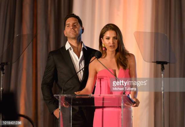 Actors Arap Bethke and Ivana de Maria speak at the Champion For Children Gala and Awards celebration at Sportsman's Lodge on August 11 2018 in Los...