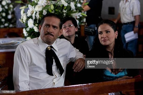 Actors Arath de la Torre and Arleth Teran during the recording of the main characters' wedding in the soap opera Zacatillo Un Lugar En Tu Corazon on...