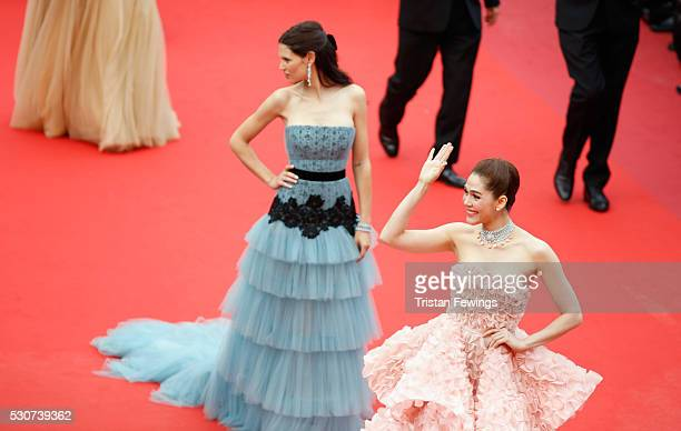 Actors Araya A Hargate and Bianca Balti attend the Cafe Society premiere and the Opening Night Gala during the 69th annual Cannes Film Festival at...