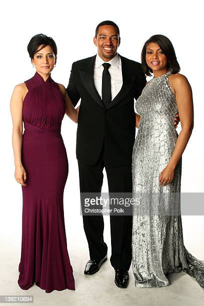 Actors Archie Panjabi Laz Alonso and Taraji P Henson pose for a portrait at the 43rd NAACP Image Awards held at The Shrine Auditorium on February 17...