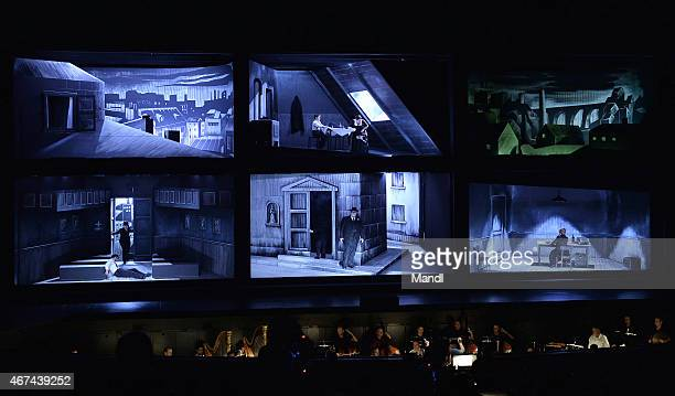 Actors are seen during a photo rehearsal for the opera Cavalleria rusticana/Pagliacci prior the Salzburg Easter Festival on March 24 2015 in Salzburg...