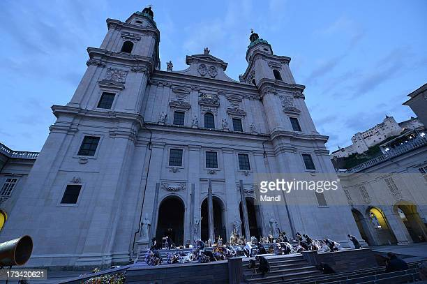 Actors are seen during the photo rehearsal of 'Jedermann' on the Domplatz ahead of Salzburg Festival 2013 on July 13, 2013 in Salzburg, Austria.