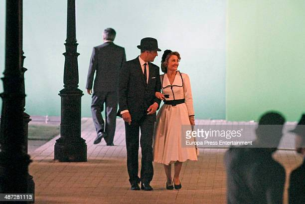Actors are seen during the set filming of 'Galerias Velvet' on April 9 2014 in Madrid Spain